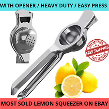 LEMON LIME SQUEEZER JUICER STAINLESS STEEL WITH BOTTLE OPENER MANUAL HAND PRESS