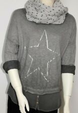 NEW Italy Shirt Pulli T-Shirt Bluse Lagenlook Strass Vintage Stern 36 38 40  42
