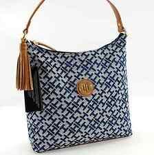 TOMMY HILFIGER AUTHENTIC BLUE/BROWN SIGNATURE HOBO BAG HANDBAG PURSE NWT