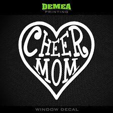 "Cheer Mom - Cheerleading - Heart - 5"" Vinyl Decal/Sticker - CHOOSE COLOR"
