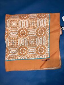 Kiton Pocket Square Orange Silk Geometric.  NWT.... Pristine NEW!
