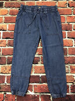 Lucky Brand Lightweight Cotton Chambray Joggers Blue Drawstring Womens Large