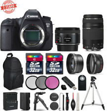 Canon Eos 6D DSLR Camera + 50mm 1.8 + 75-300mm III + 3PC Filter + 2YR warranty
