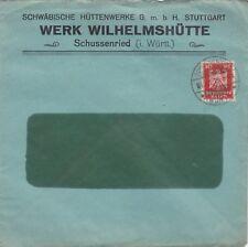 SCHUSSENRIED, Briefumschlag 1926, Schwäbische Hüttenwerke GmbH STUTTGART