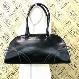 PRADA Milano Mini Boston Hand Bag Purse Italy Leather Black #DR108-106