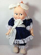 "Vintage 1987 Jesco Kewpie Doll Blue Dress White Lace Hard Vinyl Plastic 12"""