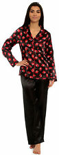 Ladies Satin Silky Pyjamas Scotty Dog Floral Animal Plain Black Red Summer PJs