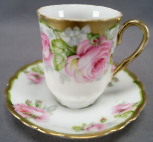 Set of 4 Moschendorf Pink Rose & Gold Gilt Chocolate Cups & Saucers C. 1900 - 30