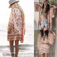 Women Retro Boho Floral Lace Cardigan Hippie Kimono Coat Blouse Cape Jacket Top
