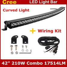 """Curved CREE Single Row 42"""" 210W Combo LED Light Bar Offroad Jeep with Wiring Kit"""