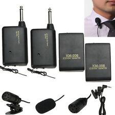 Lavalier Tragbar Kabellos Revers Clip Mini-Mikrofon FM Transmitter Empfänger