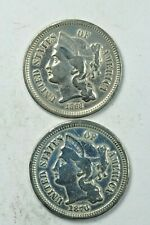Lot of 2: Three Cent 3c Nickels 1868 & 1870 VG/F Details Both Cleaned Very Good+