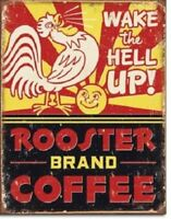 Rooster Coffee Tin Sign Retro Funny Country Farm Kitchen Home Wall Decor Gift