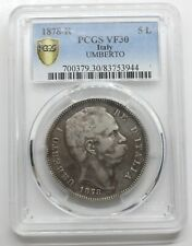 PCGS-VF30 ITALY 1878 R UMBERTO I 5 LIRE SILVER COIN KEY DATE RARE