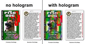 PTSD Service Dog Medical Symbol ADA green Badge wallet card ID