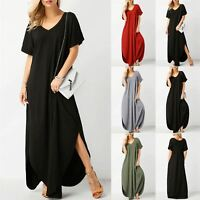 Ladies Womens V Neck Casual Loose Side pockets Side Split Kaftan Maxi Long Dress