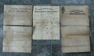 3 1870s Letterhead Bills-Boots Shoes & Clothing Co-Nashville-Cooke-Settle-Rankin