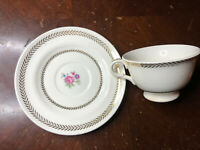Candlelight American Limoges Tea Cup & Saucer 22k Gold with Imperfection