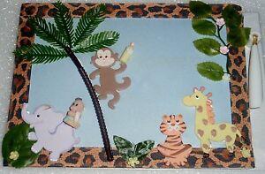 JUNGLE SAFARI BABY SHOWER SIGNATURE GUEST MEMORY BOOK BIRTHDAY COLD PORCELAIN