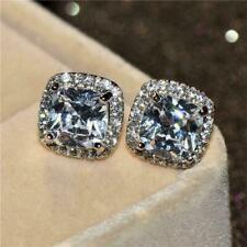 2.50Ct Cushion-Cut Diamond D/VVS1 Halo Stud Earrings 14K White Gold Finish