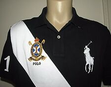 $99. (M) POLO-RALPH LAUREN Black Mesh BIG PONY & CREST Polo Shirt