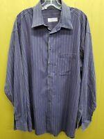 Men's Ermenegildo Zegna Sz XL Blue Patterned Long Sleeve Button Front Shirt