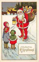 Christmas Postcard Santa Claus and Children in Snow Toys Reindeer Sleigh~125660