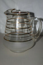 Vintage Depression Glass Pitcher in EXCELLENT condition gold rimming