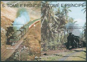 Sao Tomé und Príncipe 1993 Eisenbahn Dampflok Block 300/01 postfrisch (C28284)