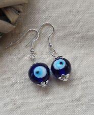 Blue Lampwork Evil Eye Lampwork Bead Dangly Drop Earrings Protection/Wiccan UK