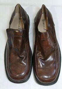 Borelli Men's Size 14 Patent Brown Leather Dress Slip On Square Toe Shoes