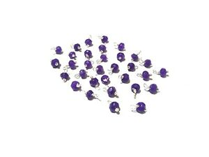 100 Pcs Dark Purple Chalcedony Rondelle 4-4.5mm Beads, Silver Wire Wrapped Link