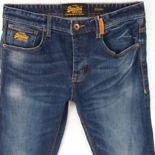 Mens SuperDry OFFICER Stretch Slim Straight Blue Jeans W32 L34
