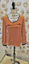 "Womens Shirt by ""Edge"" Orange Rust With Black Trim Back Cut Out Design Size S"
