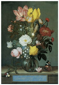 """Bosschaert, Ambrosius """"Bouquet of Flowers"""" HQ CANVAS or PAPER PRINT Up To 24x36"""""""