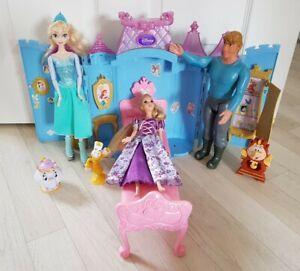 DISNEY PRINCESS FOLD OUT CASTLE elsa FROZEN dolls RAPUNZEL playset KRISTOFF set