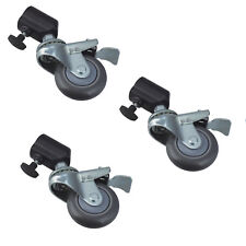 3PCS Photo Studio Stand Wheels Casters Kit w/ Brakes Heavy Duty 75mm fits 22mm