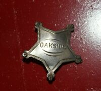 Vintage Oakside School Peekskill NY Star Lapel Pin badge Junior Sheriff Sterling