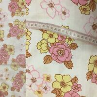 Vintage Double Flat Sheet Floral Pink Yellow 70s VW Camper Flower Power Floral