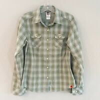 The North Face Women's Green Plaid Long Sleeve Button Down Shirt Size S