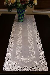 Embroidery Lace Organza White Placemat Runner Wedding Passover Party Church Deco