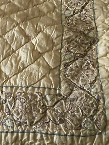 NWOT Udaipur Silk embroidered King Quilt.