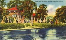Indian Teepee Tents, Gala Day, Indian Island, Old Town, ME. 1940s Linen.