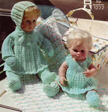 """BABY DOLL PRAM SET for 12"""" & 16"""" dolls - 4ply COPY doll knitting pattern"""
