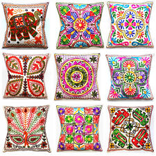"""Offwhite Cushion Cover 16x16"""" 40cm Indian Bright Colourful Embroidered Tapestry"""