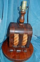 Vintage Table Lamp Nautical Marine Wood Block & Tackle Brass Round Base