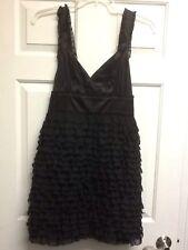 Kensie Dresses Black Silk Ruffle Cocktail LBD Formal Dress NWT Large