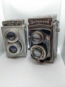 VTG Lot x2 Ricohflex Model VII TLR Film Camera 80mm F3.5 Rolleicord triotar 75mm