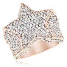 18K ROSE GOLD 3.79C PAVE DIAMOND STAR SUPERSTAR MENS GENTLEMENS COCKTAIL RING