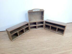 Sylvanian Families Vintage Spares Bakery Shop Kitchen Cabinet Counter Shelf x 3